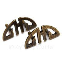 2x Dolls House Miniature 1:12th Scale Antique Brass Longevity Handles