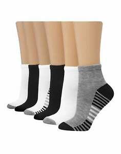 Hanes 6-Pack Womens Ankle Socks Cool Comfort Fit Zone Cushioning Arch Support