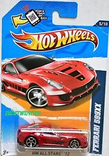 HOT WHEELS 2012 HW ALL STARS FERRARI 599XX #5/10 RED