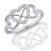 3 Three Hearts Infinity Love Ring - Simulated Diamond Genuine Sterling Silver