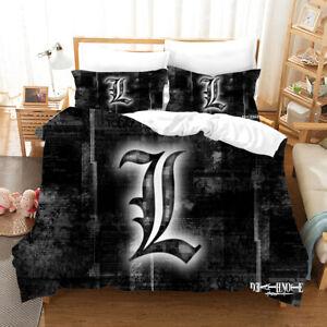 Anime Death Note Duvet Quilt Cover Bedding Set Pillowcase Single Double 6#