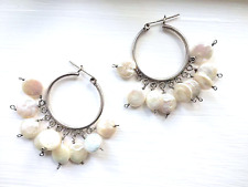 Freshwater Pearl Sterling Silver Hoop Earrings Coin Pearl Dangle Vintage Boho