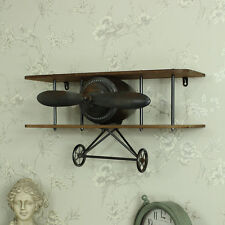 Aeroplano industriale Mensola da parete in legno shabby vintage con scaffalature Boy's Room