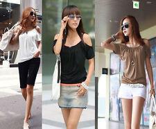 Markenlose Hüftlang Damenblusen,-Tops & -Shirts mit Rundhals und Baumwolle