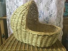 Vintage collectible rattan wicker doll bassinet basket