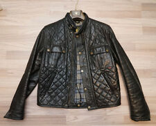 BELSTAFF Ocelot L Nero Giacca di pelle gangster Giubbotto Trapunta Camouflage Jacket