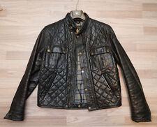 Belstaff Ocelot L noir Veste en Cuir Blouson Gangster Gesteppt Jacket