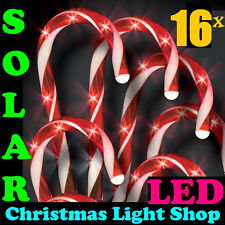 2x Set 8 Solar LED Red & White Candy Canes Outdoor Christmas Path Garden Lights