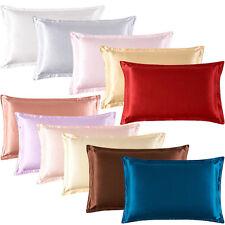 2 Silk Satin Standard Pillow Cushion Cover Case Pillowcase Home Décor MultiColor
