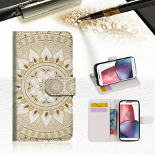 White AZTEC TRIBAL Wallet TPU Case Cover For Motorola Moto X Force-- A006