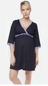 New Belabumbum Maternity Nursing Black Dottie Pajama Kimono Night Gown Dot Dress