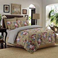 Reversible 4Pcs Duvet Set with Fitted Sheet Pillow Case 100% Cotton Beige - 902