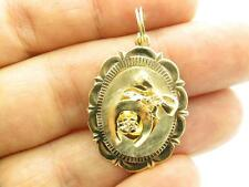 14k Yellow Gold Horse Shoe Bow Design Vintage Estate Oval Charm Pendant Gift