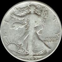 "A 1943-P WALKING LIBERTY Half Dollar 90% SILVER US Mint ""AVERAGE CIRCULATION"""