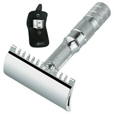Merkur Travel Safety Razor with Barber Comb and Black Leather Pouch 985 Open