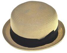 Ladies Beach Summer Sun Cloche Bucket Bow Upturn Fedora Hat-natural-lxl