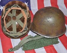 WWII CASQUE US M1 39/45 JONC AVANT + LINER FIBRE + FILET + JUGULAIRE