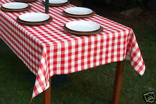 1.4x2.0m RED GINGHAM VINYL/OIL CLOTH WITH PARASOL HOLE