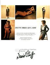 Publicité ancienne mode femme David Shiff 1980 issue de magazine