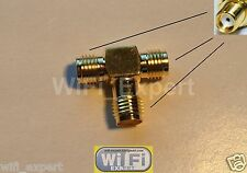 1 SMA Female to TWO SMA Female triple T in series RF adapter connector 3 way USA