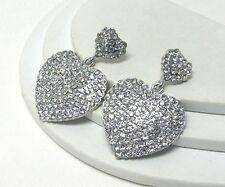 F2 Crystal Stud Double Heart Drop Post EARRINGS Silvertone NEW Valentine