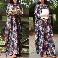 Zanzea Women Vintage Casual Floral Printed Loose Maxi Long Shirt Dresses Kaftan