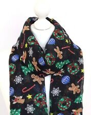 Gingerbread Man Scarf Women Christmas Tree Reindeer Bauble Snowflake Candy Cane