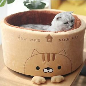 Cute Cat Pet Dog Cat Sofa Bed House Cushion Mat Remavoable Round Basket Small