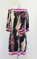 Cache Black Pink Geometric Floral Print Boat Neck 3/4 Sleeve Shift Dress Size 4