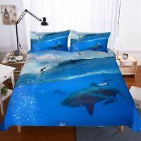 3D Shark,Surf Quilt Cover Set Bedding Duvet Cover Single/Queen/King 3pcs 9