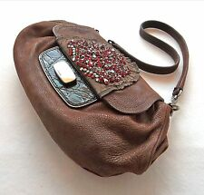 PRADA Handbag Rhinestone Leather & Croc Clutch Bag -100% Authentic with Cards