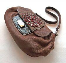 PRADA Handbag Rhinestone Leather & Croc Clutch Bag -100% Authentic with Cards