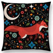Dark floral fox cushion cover, moon, animal, cotton canvas