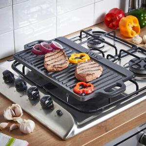 S/M/L Non Stick Cast Iron Griddle Plate Reversible BBQ Cooking Steak S/M/L Hob