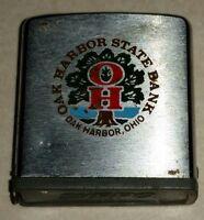Vintage Steel Zippo Advertising Tape Measure Ruler OAK HARBOR STATE BANK OHIO