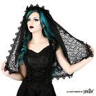 Sinister Gothic Black Sicilian Lace  Venetian Lace Trim Wedding Veil w Roses