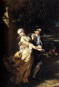 Stunning Oil painting Dubufe Edouard Lovelaces Kidnapping Of Clarissa Harlowe
