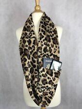 Cheetah Print  Faux Fur Infinity Scarf With Zipper Hidden Pocket Scarf