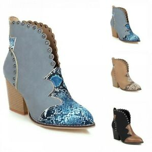 Women Cowboy Chelsea Pointy Toe Chunky Stud Ankle Boots Outdoor 45 46 47 48 B