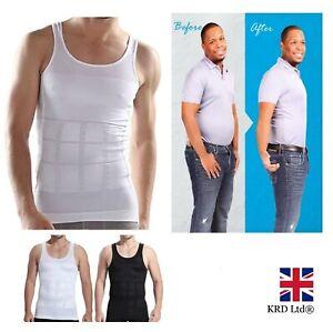MEN SLIMMING VEST Body Shaper Slim Chest Belly Waist Boobs Compression Shirt UK