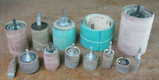assorted drum sanders w/ some sandpaper sleeves, drill press spindle mount