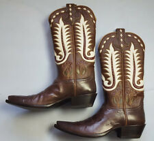 RALPH LAUREN TEXAS STYLED WESTERN COWBOY BROWN BOOTS SIZE 9.5C MADE IN USA