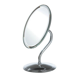 Chrome Oval Frame Swivel Table Mirror On Stand Shaving Makeup Bathroom