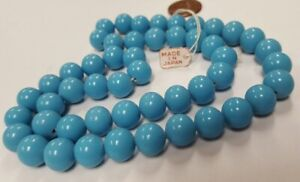 50 VINTAGE JAPAN CHERRY BRAND GLASS BLUE TURQUOISE 10mm SMOOTH ROUND BEADS 4629T