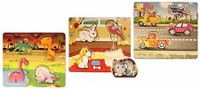 Toddler Puzzle Wood Set of 3 - 3 Piece Variety Pack Cars, Dinosaurs, Animals