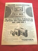 BOOM BOX GHETTO BLASTER ORIGINAL 1979 VINTAGE PRESS ADVERT TOSHIBA RT 8560S