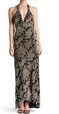 DRESS THE POPULATION ERICA VELVET PATTERN MAXI GOWN WRAP DRESS BLACK TAUPE LARGE