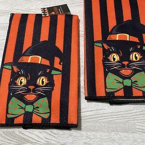 Black Cat Halloween Dish Towel 2 Pc Set Vintage Kitch Look Kitchen Orange Stripe