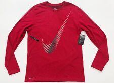 Nike Dri Fit Swoosh Red Training Graphic Long Sleeve T Shirt CK4265-657 $30