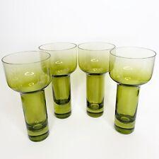 4 X Green Leonardo Modern Wine Glasses Mid Modernist Made in Germany